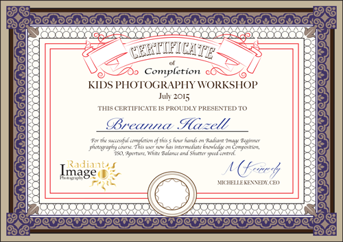 certificate of completion for kids